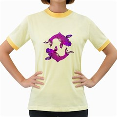 Koi Carp Fish Water Japanese Pond Women s Fitted Ringer T-Shirts