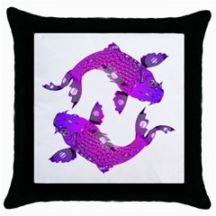 Koi Carp Fish Water Japanese Pond Throw Pillow Case (Black)