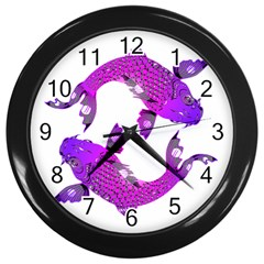 Koi Carp Fish Water Japanese Pond Wall Clocks (Black)