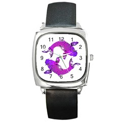 Koi Carp Fish Water Japanese Pond Square Metal Watch
