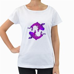 Koi Carp Fish Water Japanese Pond Women s Loose-Fit T-Shirt (White)