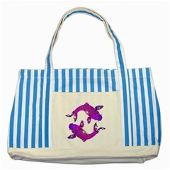 Koi Carp Fish Water Japanese Pond Striped Blue Tote Bag