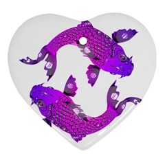 Koi Carp Fish Water Japanese Pond Heart Ornament (2 Sides)