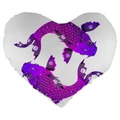 Koi Carp Fish Water Japanese Pond Large 19  Premium Heart Shape Cushions