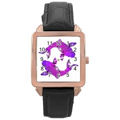 Koi Carp Fish Water Japanese Pond Rose Gold Leather Watch