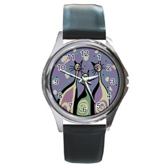 Cats Round Metal Watch