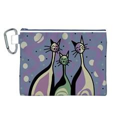 Cats Canvas Cosmetic Bag (L)