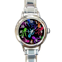 Colorful octopuses pattern Round Italian Charm Watch