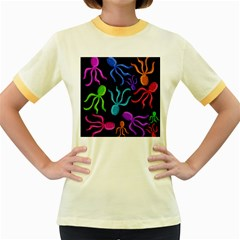 Colorful octopuses pattern Women s Fitted Ringer T-Shirts