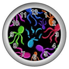 Colorful octopuses pattern Wall Clocks (Silver)
