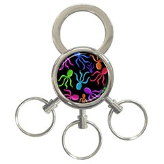 Colorful octopuses pattern 3-Ring Key Chains