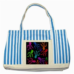 Colorful octopuses pattern Striped Blue Tote Bag
