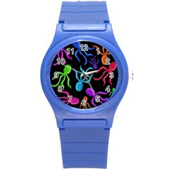 Colorful octopuses pattern Round Plastic Sport Watch (S)