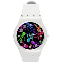 Colorful octopuses pattern Round Plastic Sport Watch (M)