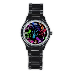 Colorful octopuses pattern Stainless Steel Round Watch