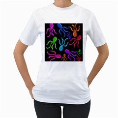 Colorful octopuses pattern Women s T-Shirt (White)