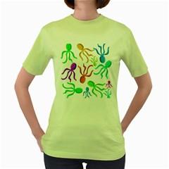 Octopuses pattern Women s Green T-Shirt
