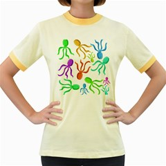 Octopuses pattern Women s Fitted Ringer T-Shirts