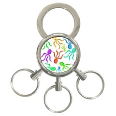 Octopuses pattern 3-Ring Key Chains