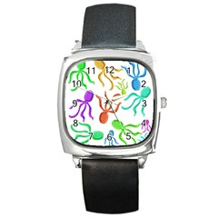 Octopuses pattern Square Metal Watch