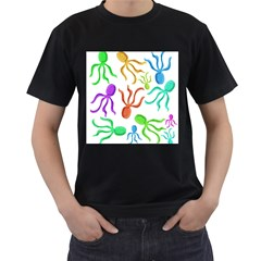 Octopuses pattern Men s T-Shirt (Black) (Two Sided)