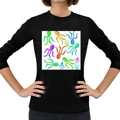 Octopuses pattern Women s Long Sleeve Dark T-Shirts