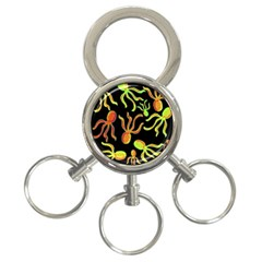 Octopuses pattern 2 3-Ring Key Chains