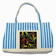 Octopuses pattern 2 Striped Blue Tote Bag