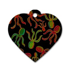 Octopuses pattern 4 Dog Tag Heart (One Side)