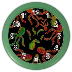Octopuses Pattern 4 Color Wall Clocks