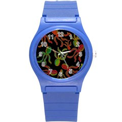 Octopuses pattern 4 Round Plastic Sport Watch (S)