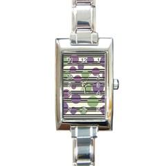 Purple and green elegant pattern Rectangle Italian Charm Watch