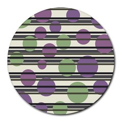 Purple and green elegant pattern Round Mousepads