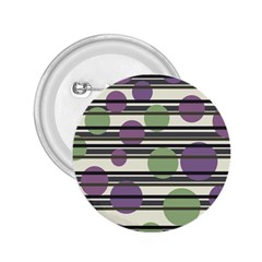 Purple and green elegant pattern 2.25  Buttons