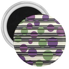 Purple and green elegant pattern 3  Magnets