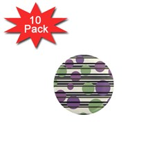 Purple and green elegant pattern 1  Mini Magnet (10 pack)