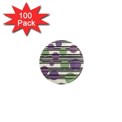 Purple and green elegant pattern 1  Mini Magnets (100 pack)