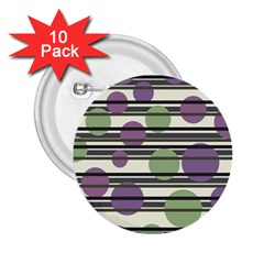 Purple and green elegant pattern 2.25  Buttons (10 pack)