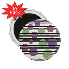 Purple and green elegant pattern 2.25  Magnets (10 pack)