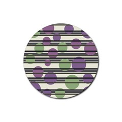 Purple and green elegant pattern Rubber Coaster (Round)