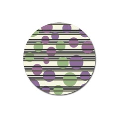 Purple and green elegant pattern Magnet 3  (Round)