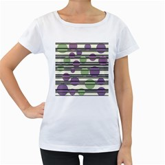 Purple and green elegant pattern Women s Loose-Fit T-Shirt (White)