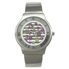 Purple and green elegant pattern Stainless Steel Watch