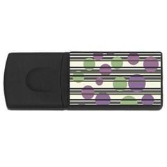 Purple and green elegant pattern USB Flash Drive Rectangular (4 GB)