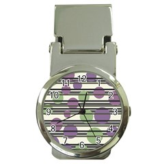 Purple and green elegant pattern Money Clip Watches
