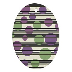 Purple and green elegant pattern Oval Ornament (Two Sides)