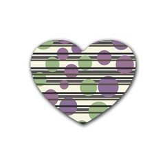 Purple and green elegant pattern Heart Coaster (4 pack)