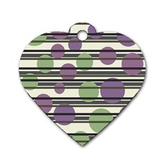 Purple and green elegant pattern Dog Tag Heart (One Side)