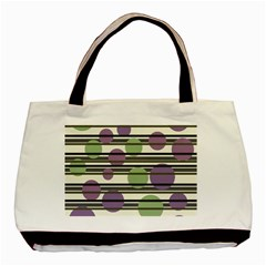 Purple and green elegant pattern Basic Tote Bag (Two Sides)