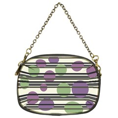 Purple and green elegant pattern Chain Purses (One Side)